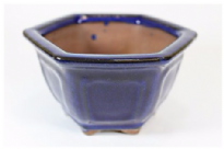 Bonsai Pot, Hexagonal, 11cm, Blue, Glazed